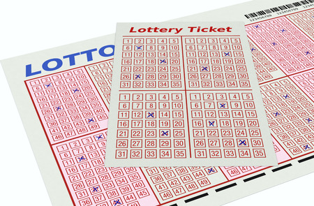 lotto: close up view of lotto tickets (3d render)