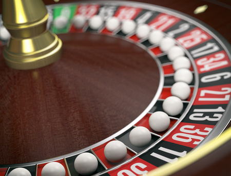 roulette wheels: closeup view of a roulette wheels with a ball on every number, concept of cheating (3d render) Stock Photo