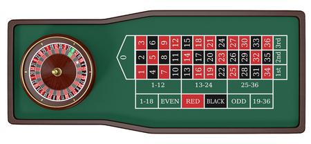 roulette table: top view of a roulette table on white background (3d render)