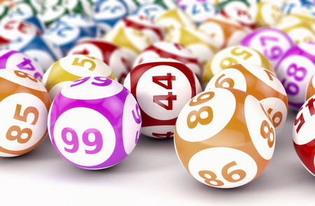 close up view of lotto or bingo balls (3d render) 스톡 콘텐츠