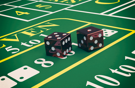 craps: close up view of a craps table with dices (3d render)