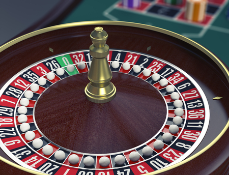 closeup view: closeup view of a roulette wheels with a ball on every number, concept of cheating (3d render) Stock Photo