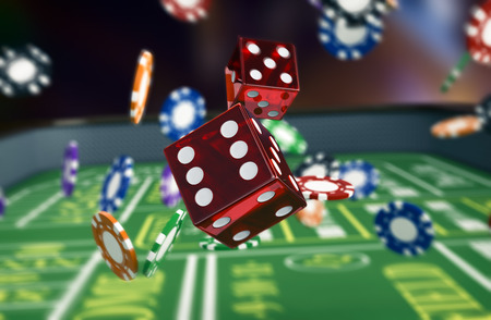 roll up: close up view of a craps table with dices and fiches (3d render)