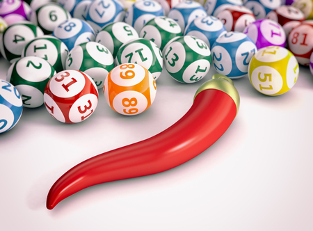 luck: close up view of lotto or bingo balls with a red horn, italian symbol of luck (3d render) Stock Photo