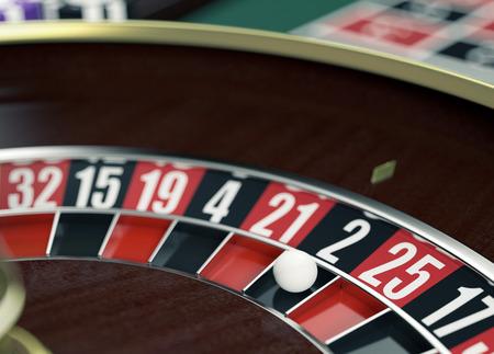 casino wheel: closeup view of a roulette wheel (3d render)