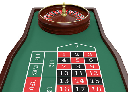 roulette table: closeup view of a roulette table on white background (3d render)