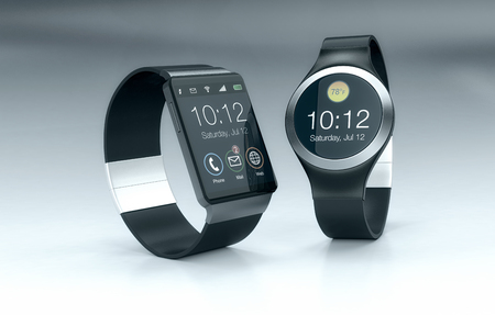 organizer: front view of two smartwatches (3d render)