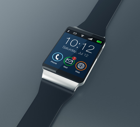 personal accessories: top view of a smartwatch on dark background (3d render)