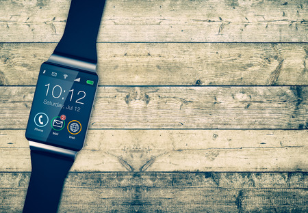 personal accessories: top view of a smartwatch on a wooden background, empty space at the right (3d render)