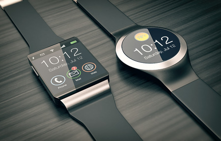 personal accessories: top view of two smartwatches on wooden background (3d render) Stock Photo