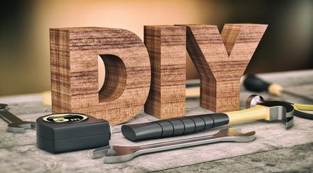renovating: work tools on wooden background, concept of diy (3d render)