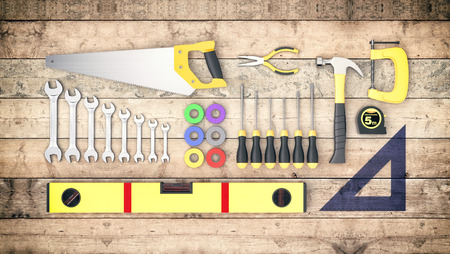 tool kit: top view of a kit of work tools on wooden background, concept of diy (3d render)