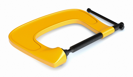 clamp: top view of a clamp on white background (3d render) Stock Photo
