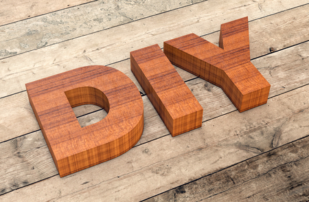 3d word: top view of the word diy on wooden background (3d render)