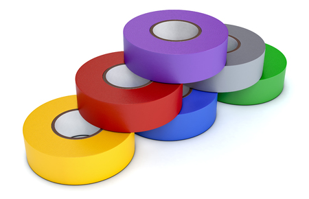 tapes: one stack of colorful insulating adhesive tapes on white background (3d render)
