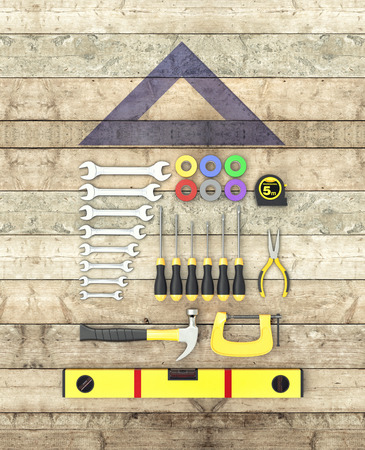 tool: top view of a kit of work tools on wooden background, concept of diy (3d render)