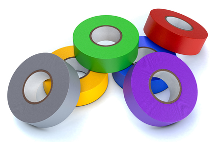 scotch: one stack of colorful insulating adhesive tapes on white background (3d render)