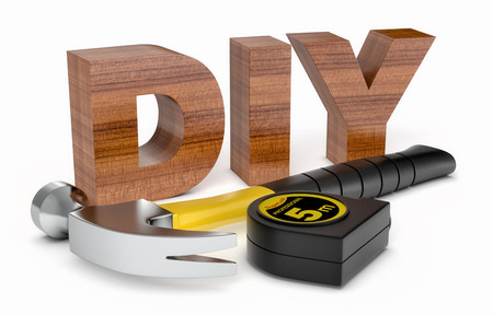 hardware tools: work tools and the word: diy, on white background (3d render)