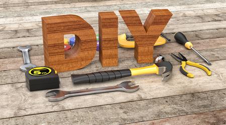 wooden work: work tools on wooden background, concept of diy (3d render)