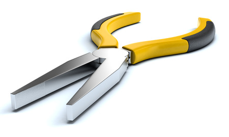 pliers: close-up view of pliers on white background (3d render)