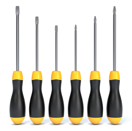 front view of a set of screwdrivers on white background (3d render)