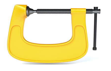 clamp: front view of a clamp on white background (3d render) Stock Photo