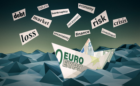 failed strategy: one paper boat made with euro banknotes on a stormy sea and scraps of paper with words about financial crisis, low-poly style (3d render)