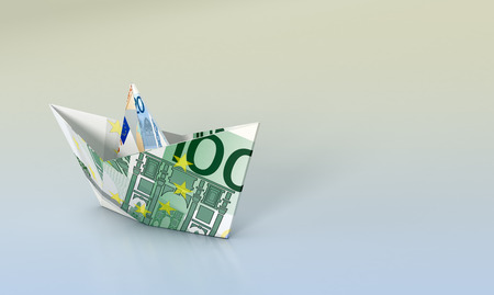 business space: one paper boat made with euro banknotes, concept of business and finance, empty space at the right (3d render)