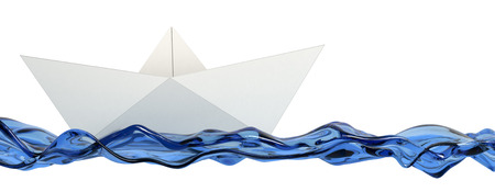 3d boat: front view of a paper boat with stylized water, white background (3d render)