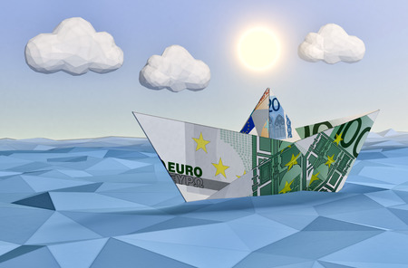 euro banknote: one paper boat made with euro banknotes on a calm sea and a bright sun, concept of finance security, low-poly style (3d render)