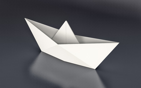 3d sail boat: one paper boat on dark background (3d render)