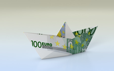 banknote: close-up view of a paper boat made with euro banknotes, concept of business and finance (3d render) Stock Photo