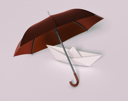3d boat: one paper boat under an umbrella, concept of security and protection (3d render)