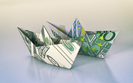 paper currency: two paper boats made with dollar and euro banknotes, concept of business and finance (3d render)