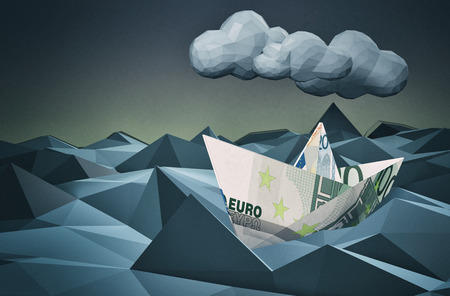 3d boat: one paper boat made with euro banknotes on a stormy sea, concept of financial crisis, low-poly style (3d render)