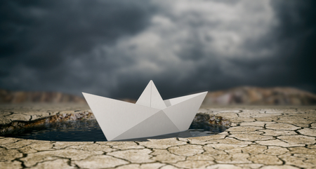 render: one paper boat on a puddle of water and dry ground, stormy sky (3d render)