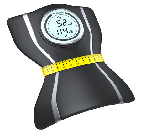 tighten: one bathroom scale squeezed by a tape measure, white background (3d render) Stock Photo