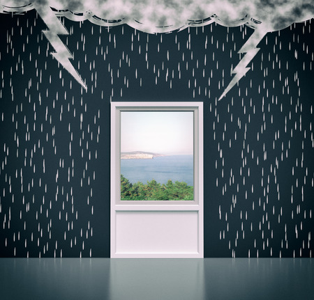salvation: wall with the drawing of dark clouds, rain, lightning. A window and a sea-view, concept of solution or salvation (3d render) Stock Photo