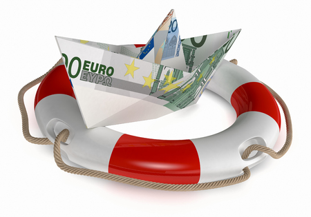 lifebelt: one paper boat made with euro banknotes, and a lifebelt, concept of safety (3d render) Stock Photo