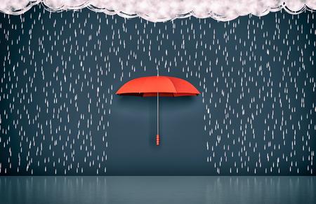 lluvia: pared con el dibujo de nubes oscuras, lluvia y un paraguas, concepto de protección y seguridad (3d)