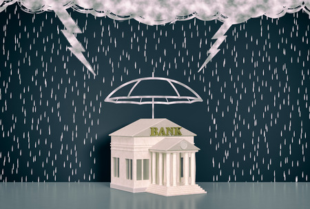 3d lightning: wall with the drawing of dark clouds, rain, lightning. One umbrella is protecting a bank, concept of safe investment (3d render)