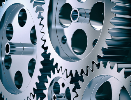 coordination: close-up view of gear and steel cogwheels (3d render) Stock Photo