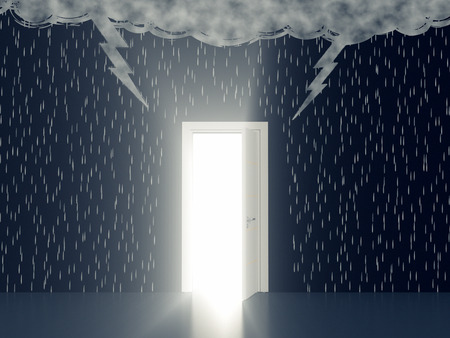 dark clouds: wall with the drawing of dark clouds, rain, lightning. An open door with a light, concept of solution or salvation (3d render)