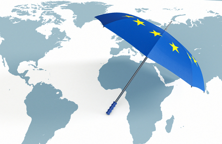 world security: one umbrella made with the Europe flag and a world map, concept of world security (3d render)