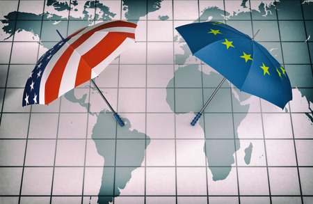 world flag: two umbrellas made with the Europe and the Usa flag, above a world map, concept of world security and cooperation (3d render)