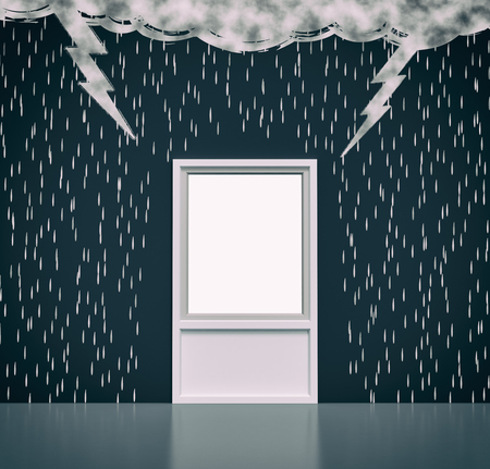 rain window: wall with the drawing of dark clouds, rain, lightning. A window with a white space, concept of solution or salvation (3d render)