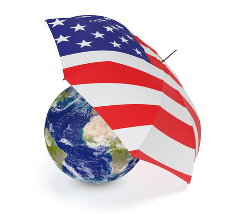 world security: one umbrella made with the US flag and a world globe, concept of world security (3d render) - Elements of this image furnished by NASA Stock Photo