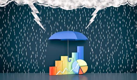 parete con il disegno di nuvole scure, pioggia, fulmini. Un ombrello protegge alcuni grafici finanziari, il concetto di investimento sicuro (rendering 3d) Archivio Fotografico