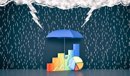 dark clouds: wall with the drawing of dark clouds, rain, lightning. One umbrella is protecting some financial graphs, concept of safe investment (3d render)