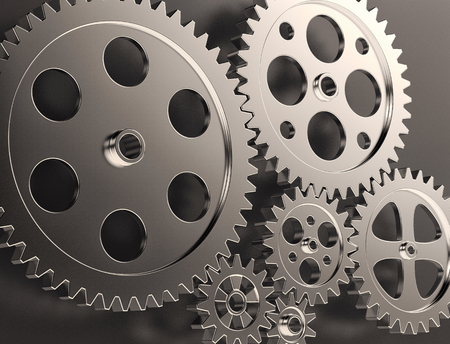 technology symbols metaphors: close-up view of gear and steel cogwheels (3d render) Stock Photo